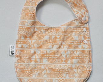 Orange Tribal Side Snap Bib with Minky Back