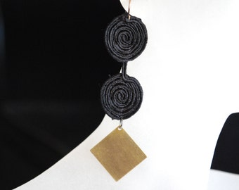 Lace Earrings -- Black Spiral Lace, Gold Diamonds, Black and Gold, Intricate, Tribal
