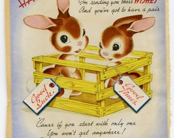 Vintage 1945 Birthday Card-A Million Wishes-with Bunnies