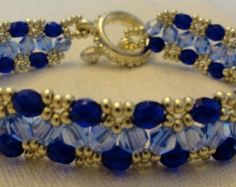 Blue and Silver Crystal Woven Bracelet