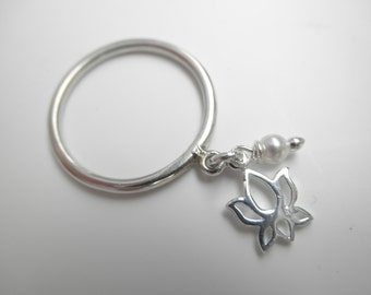 Lotus flower  ring - 925 solid sterling silver - dangle charm ring - lotus dangle - purity - buddhism