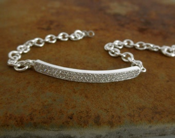 Pave bar bracelet with heavy sterling silver chain