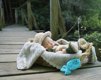 Fisherman Photo Prop Baby Set - Hat, Diaper Cover, Booties, & Fish * Newborn - 12 mos.