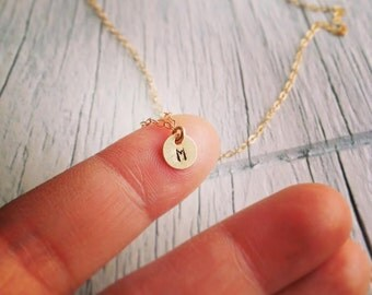 14Kt Gold Initial Necklace - Tiny 14Kt Gold Initial Necklace - Any time Necklace - Monogram Necklace, Bridesmaid Gift, Personalized Gift