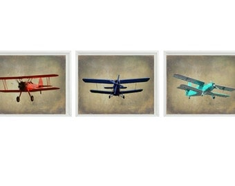 Vintage Airplane Art Print Set - Nursery Baby Boy Room Red Blue Aqua Biplane Flying Aviation Toddler Big Boy Room Home Decor Photograph
