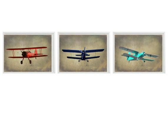 Vintage airplane art print set nursery baby boy room red Vintage airplane decor for nursery