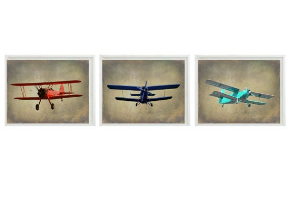 Vintage Airplane Art Print Set Nursery Baby Boy Room Red