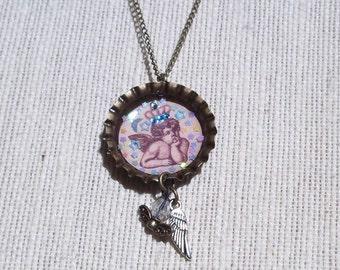 Angel Cherub Bottle Cap Necklace With Swarovski Crystals