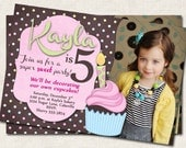 Cupcake Birthday Party Invitation, pink brown, photo invite, digital file, you-print