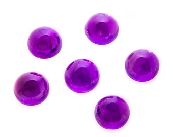Natural Purple African Amethyst Gemstone Round Cab Size 3 mm, 5 mm