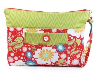Cosmetic Bag Zipper Wristlet Pouch Red Green Blue Flowers