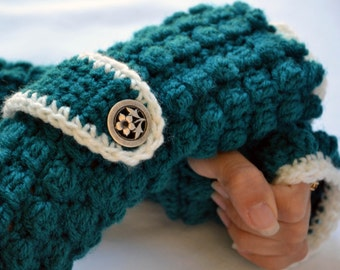 Teal long arm warmers, fingerless gloves, texting gloves, crochet gloves, boho gloves, hand warmers, mittens, boho fashion, button gloves