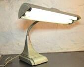 Vintage Industrial Gooseneck Fluorescent Desk Lamp - Works Great!  With Bulbs!