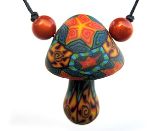 SALE Mushroom pendant, tribal patterns, millefiori stars and spirals, handmade from polymer clay, thin cord, one of a kind mushroom necklace