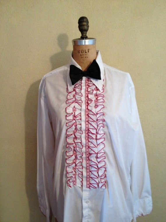 1970s men 39 s ruffled tuxedo white shirt for Red ruffled tuxedo shirt