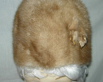 Vintage Genuine Mink Fur Hat with Feet Golden Brown w/ Copper Hue Fully Lined