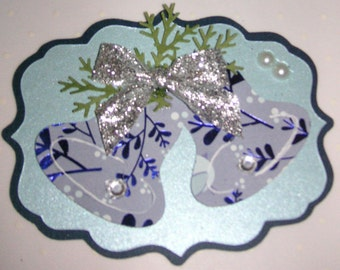2 Christmas Bell Scrapbook Embellishments, Christmas Card Topper, Christmas tag, ornament