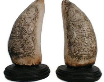 Scrimshaw Whale Teeth Set replica sculpture 4 x 7 in