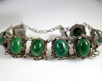 SALE Vintage Taxco Mexican Green Agate Bracelet, Taxco Sterling Silver, Green Agate, Mexican  Handmade Mexican Bracelet , NOW 149 WAS 164