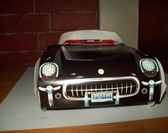 Retro  Vintage Classic Black 54 Corvette  Food Box Car box,Popcorn Box Kids Brithday Party Set of 5