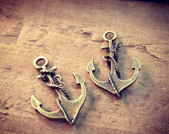 Large Anchor Charms Antique Bronze Anchor Charm Nautical Charm Sailor Charm Pirate Vintage Style Pendant Charm Jewelry Supplies (B022)