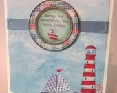 Sunny Days at The Seaside , Happy Birthday  ,Handmade Card