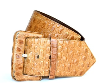 Vintage PEARL Alligator Leather Tan Wide Belt M Vtg Brown Crocodile Belt Medium