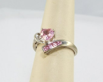 Pink Ice Sapphire Heart 10K White Gold Ring, Princess Cut Bubble Gum Pink Sapphire Heart 10K White Gold Ring, Angelic Pink Heart Ring