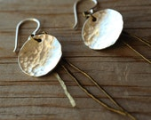 Hammered Silver and Brass Fringe Dangle Earrings, bronze, summer tones, minimalist, free form