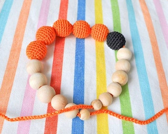 Nursing Necklace/Teething Necklace by SimplyaCircle-Breastfeeding Necklace-Eco-Friendly-Orange Black-Mother's day