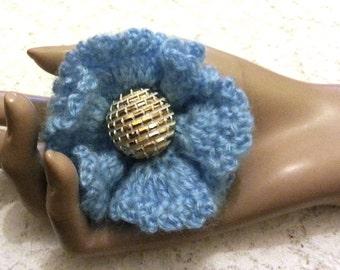 Sales - Crochet Flower Brooch - Crochet Flower Pin - Crochet Blue Flower - Flower Pin - Ruffled Flower Pin - FREE UK delivery