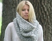 Ready to ship in Oatmeal Chunky Cowl Scarf  Neck Warmer Textured Crochet Hood  / THE LECONTE / Marble Gray