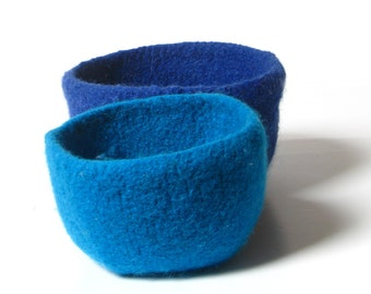 Sale - WOOLY FELTED BOWLS - two felted nesting bowls - blues 18