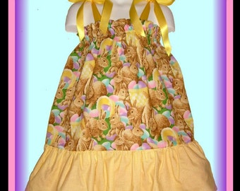 CLEARANCE Easter Bunny Colorful Easter Eggs Boutique Pillowcase Dress w/ Checkered Yellow Bottom Layer Sizes Toddler & Girls