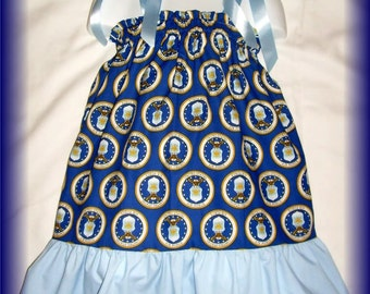 US Air Force Boutique Pillowcase Dress w/ Solid Bottom Layer Sizes: Toddlers & Girls