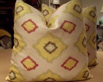 "Watermelon Multi on Coconut ""JELLY BEAN IKAT"" Modern Geometric Custom Pillows Pair - Deep Watermelon Cotton Back - 20"" Square"