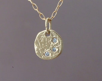 Three Wishes Crystal Gold Etched Disc Necklace
