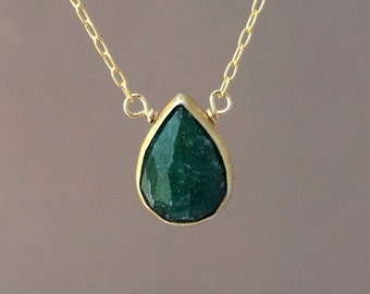 Green Emerald Stone Bezel Set Gold Necklace