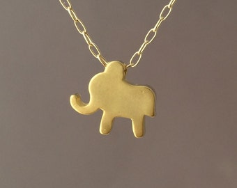 Tiny Gold Elephant Necklace also in Silver