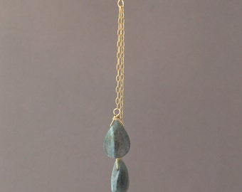 Gold Y Lariat Drop Labradorite Gemstone Necklace also in Rose Gold Fill and Sterling Silver