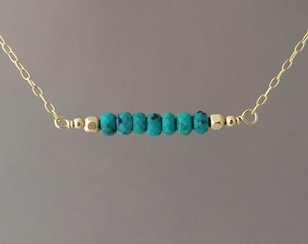 Straight Bar Blue Turquoise Beaded Necklace Gold Rose Gold or Silver