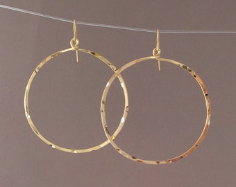 Gold Hammered Circle Hoop Earrings also in Silver