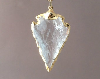 Small Clear Crystal Arrowhead Gold Necklace