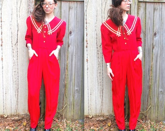 Vintage // Red and Gold Jumpsuit Pants Suit // Oversized Collar //90's Hot // Pockets Small Size 6 sailor