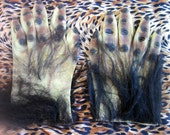 Vintage 70s 80s Classic Creature Monster Hands with Fake Hair/Fur. Latex/Rubber. Costume or Decoration