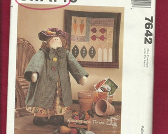 McCalls 7642 Ready to Work in the Garden Rag Doll with Her Hat & Coat and Veggies Size 18 inches UNCUT