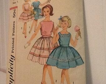 1950 Girls Simplicity Dress Pattern #3451