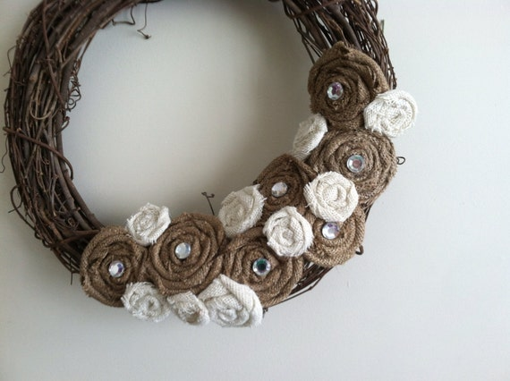 Large Ivory and Natural Tan Burlap Flower and Gem All Season Removable Wreath Attachment
