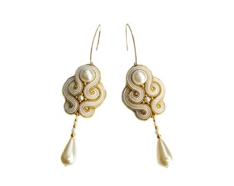 Soutache wedding earrings - elegant, unusual and perfect for the Bride - Audrey