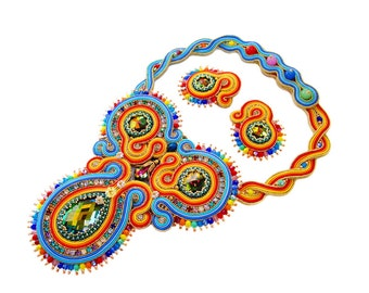 SALE !!! OOAK Soutache statement necklace - elegant, unique and unusual - Summer Parrot
